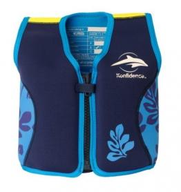 Kinder-Schwimmweste 2J-BB-137 aus Neopren, Blaue Blätter, Größe: 12-16 kg (2-3 Jahre), Brustumfang 56 cm - 1